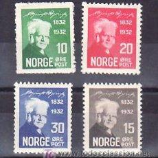 Sellos: NORUEGA 155/8 CON CHARNELA, LITERATURA, CENTENARIO NACIMIENTO DEL POETA BJOERNSTJERNE M. BJOERNSON,. Lote 10779976