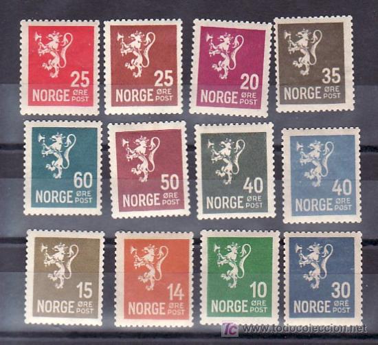 NORUEGA 112/4, 112A, 116/23 CON CHARNELA, ESCUDO, (Sellos - Extranjero - Europa - Noruega)