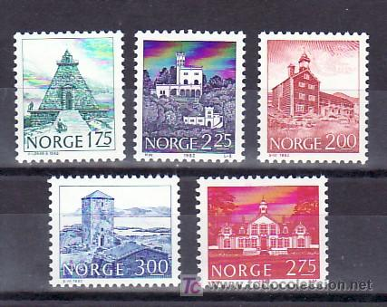 NORUEGA 811/5 SIN CHARNELA, MONUMENTOS, (Sellos - Extranjero - Europa - Noruega)