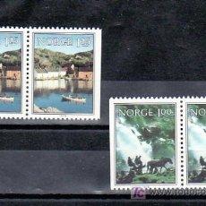 Sellos: NORUEGA 751A/2A SIN CHARNELA, CARRETA, BARCO, VISTAS DE NORUEGA,. Lote 9834086