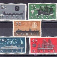 Sellos: NORUEGA 402/6 CON CHARNELA, BARCO, HISTORIA DE LA MARINA,. Lote 11704152