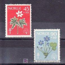 Sellos: NORUEGA 396/7 SIN CHARNELA, FLORES, LUCHA CONTRA TUBERCULOSIS, CRUZ DE LORENA. Lote 11720314