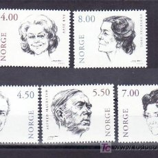Sellos: NORUEGA 1321/5 SIN CHARNELA, MUJERES, ACTOR Y ACTRIZ DE TEATRO NORUEGO, . Lote 11614406