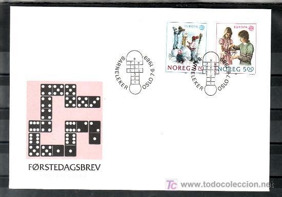 NORUEGA 976/7 PRIMER DIA, TEMA EUROPA 1989, JUEGOS INFANTILES, (Sellos - Extranjero - Europa - Noruega)
