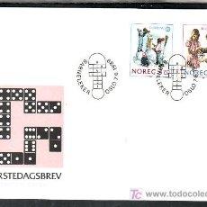 Sellos: NORUEGA 976/7 PRIMER DIA, TEMA EUROPA 1989, JUEGOS INFANTILES, . Lote 11858553