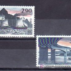 Sellos: NORUEGA 952/3 SIN CHARNELA, TEMA EUROPA 1988, TRANSPORTES Y COMUNICACIONES, BARCO, PUENTE, . Lote 10606441