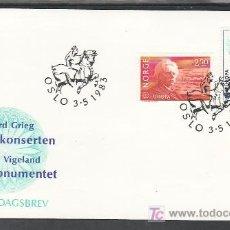 Sellos: NORUEGA 841/2 PRIMER DIA, TEMA EUROPA 1983, GRANDES OBRAS DE LA HUMANIDAD, MUSICA, . Lote 10712686