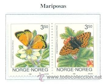 NORUEGA 1994 MARIPOSAS FAUNA YVERT 1107-08 (Sellos - Extranjero - Europa - Noruega)