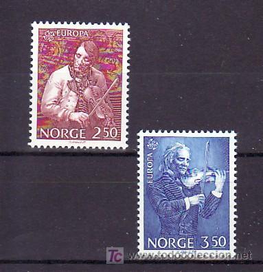 NORUEGA 880/1 SIN CHARNELA, TEMA EUROPA 1985, AÑO EUROPEO DE LA MUSICA, (Sellos - Extranjero - Europa - Noruega)
