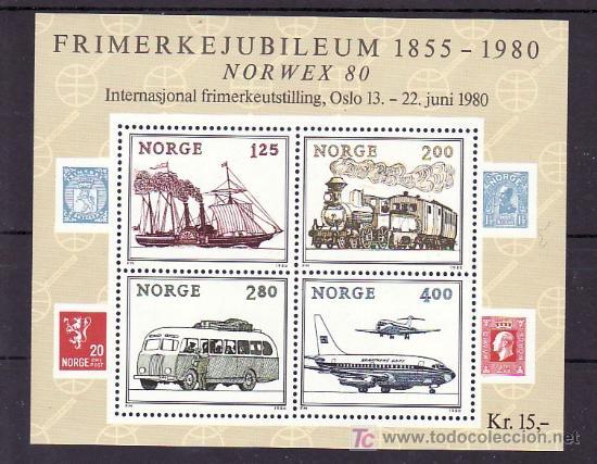 NORUEGA HB 4 SIN CHARNELA, TRANSPORTE, BARCO, AVION, FF.CC., AUTOMOVIL, NORWEX 80, EXP. FIL. INTERN (Sellos - Extranjero - Europa - Noruega)
