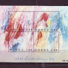 Sellos: NORUEGA HB 12** AÑO 1989 - DIA DEL SELLO - PINTURA NORUEGA CONTEMPORANEA - OBRA DE JAKOB WEIDEMANN. Lote 22834502