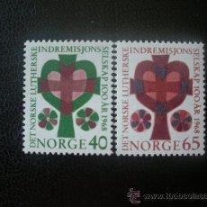Sellos: NORUEGA 1968 IVERT 528/9 *** CENTENARIO SOCIEDAD DE LA MISIÓN LUTERANA. Lote 24502147