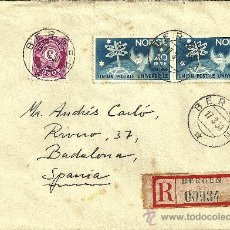 Sellos: SOBRE CIRCULADO CON 3 SELLOS DE NORUEGA - BERGEN - 1950. Lote 27194397