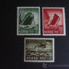 Sellos: NORUEGA Nº YVERT 257/9*** AÑO 1944 PRO VICTIMAS NAUFRAGIOS DE BARCOS . Lote 114662579