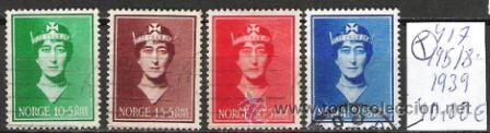 417-NORUEGA NORGE SERE COMPLETA 1939 Nº 195/8 .VALOR CLASICOS 40,00€ SEVICIO (Sellos - Extranjero - Europa - Noruega)