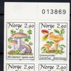 Sellos: NORUEGA AÑO 1988 YV 946/47*** CARNET - CT - SETAS - FLORA - NATURALEZA. Lote 35481374