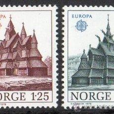Sellos: NORUEGA AÑO 1978 YV 725/26*** EUROPA - MONUMENTOS - IGLESIAS TÍPICAS - ARQUITECTURA - RELIGIÓN. Lote 35481579