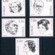 Sellos: NORUEGA 2001 - ACTORES DE TEATRO - YVERT Nº 1321-1325. Lote 45828941