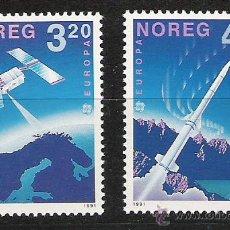 Sellos: NORUEGA AÑO 1991 YV 1019/20*** EUROPA - CONQUISTA DEL ESPACIO - TRANSPORTES. Lote 46389623