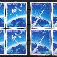 Sellos: NORUEGA AÑO 1991 YV 1019/20*** BL 4 - BLOQUE DE 4 - EUROPA - CONQUISTA DEL ESPACIO - TRANSPORTES. Lote 46389780