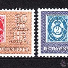 Sellos: NORUEGA 596/97** - AÑO 1972 - CENTENARIO DE LA PRIMERA SERIE DE SELLOS POSTHORN. Lote 48970953