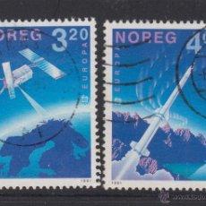 Sellos: NORUEGA 1019/20 - AÑO 1991 - EUROPA - CONQUISTA DEL ESPACIO. Lote 53232889