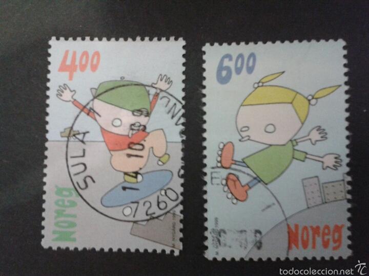 SELLOS DE NORUEGA. YVERT 1282/3. SERIE COMPLETA USADA. JUEGOS DE NIÑOS. JUGUETES (Sellos - Extranjero - Europa - Noruega)