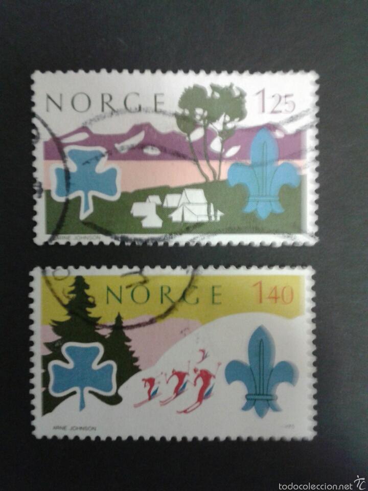 SELLOS DE NORUEGA. YVERT 661/2. SERIE COMPLETA USADA. SCOUTS (Sellos - Extranjero - Europa - Noruega)
