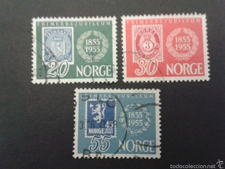 SELLOS DE NORUEGA. YVERT 355/7. SERIE COMPLETA USADA. SELLOS SOBRE SELLOS (Sellos - Extranjero - Europa - Noruega)