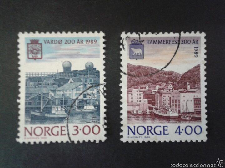 SELLOS DE NORUEGA. YVERT 572/3. SERIE COMPLETA USADA. PUERTOS DE CIUDADES (Sellos - Extranjero - Europa - Noruega)