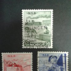 Timbres: SELLOS DE NORUEGA. YVERT 349/51. SERIE COMPLETA USADA. TRENES. Lote 53277569