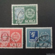 Sellos: SELLOS DE NORUEGA. YVERT 355/7. SERIE COMPLETA USADA. SELLOS SOBRE SELLOS. Lote 53277573
