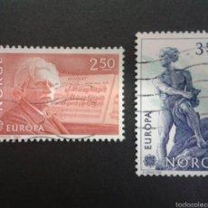 Sellos: SELLOS DE NORUEGA. YVERT 841/2. SERIE COMPLETA USADA. MÚSICA. MATEMÁTICAS. Lote 54851492