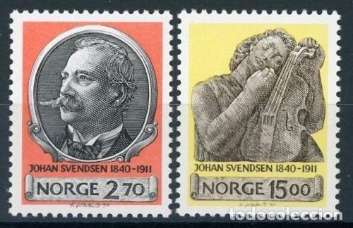 NORUEGA 1990 IVERT 1007/8 *** 150º ANIVERSARIO DEL NACIMIENTO DEL MUSICO JOHAN SVENDSEN (Sellos - Extranjero - Europa - Noruega)