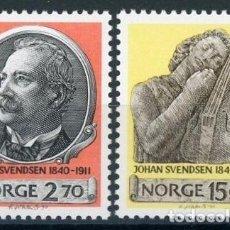 Sellos: NORUEGA 1990 IVERT 1007/8 *** 150º ANIVERSARIO DEL NACIMIENTO DEL MUSICO JOHAN SVENDSEN. Lote 69476801