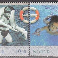 Sellos: NORUEGA 1567/8, CENTENARIO DEL SERVICIO NACIONAL DE SALVAMENTO ACUATICO, NUEVO *** (SERIE COMPLETA). Lote 77241721
