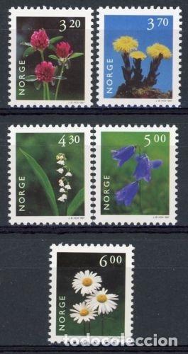 NORUEGA 1997 IVERT 1187/91 *** SERIE BÁSICA - FLORA - FLORES DIVERSAS (I) (Sellos - Extranjero - Europa - Noruega)