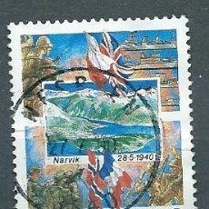 Sellos: NORUEGA,1990,50 ANIVERSARIO DE LA BATALLA DE NARVIK,YVERT 1000,USADO. Lote 104252131
