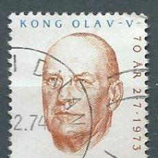 Sellos: NORUEGA,1973,70 ANIVERSARIO DE OLAV V,USADO,YVERT 621,USADO. Lote 104252250
