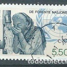 Sellos: NORUEGA,1995,MUJER BEBIENDO AGUA DE UN GRIFO,USADO,YVERT 1145,USADO. Lote 104252378