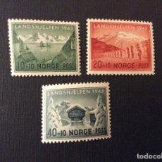 Sellos: NORUEGA Nº YVERT 254/6*** AÑO 1943. TURISMO, PRO SOCORRO DE INVIERNO. Lote 121187607