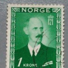 Sellos: SELLO NORUEGA 285 NORGE 1 KRONE REY HAAKON VII USADO AÑO 1946. Lote 139585312
