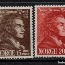 Sellos: NORUEGA 242/43** - AÑO 1943 - BICENTENARIO DEL NACIMIENTO DEL POETA JOHAN HERMAN WESSEL. Lote 142570278