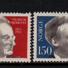 Sellos: NORUEGA 423/24** - AÑO 1962 - CENTENARIO DEL NACIMIENTO DEL PROFESOR VILHELM BJERKNES. Lote 145070618
