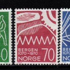Sellos: NORUEGA 564/66** - AÑO 1970 - 900º ANIVERSARIO DE LA CIUDAD DE BERGEN. Lote 145071630