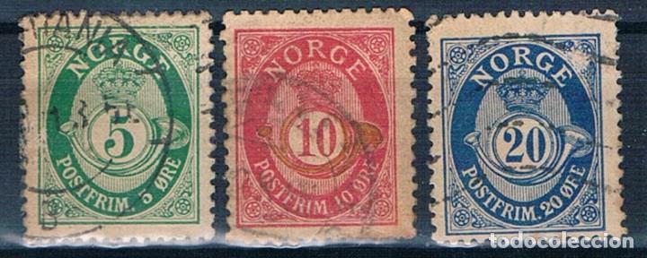 NORUEGA TRES SELLOS USADO DE 1886/1893 PROBABLEMENTE (Sellos - Extranjero - Europa - Noruega)