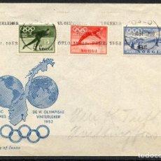 Timbres: NORUEGA, SOBRE, VI OLYMPIC WINTER GAMES OSLO, 1952, NORGE, SKI, REF. 2. Lote 150499930