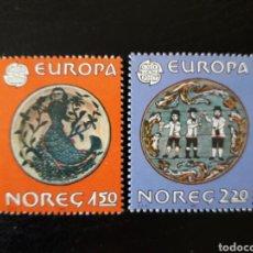 Sellos: NORUEGA. YVERT 792/3 SERIE COMPLETA NUEVA SIN CHARNELA. EUROPA CEPT. DECORACIÓN OBJETOS. FOLCLORE.. Lote 151568838