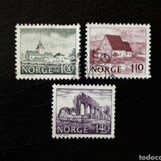 Sellos: NORUEGA. YVERT 722/4 SERIE COMPLETA USADA. MONUMENTOS.. Lote 152392196