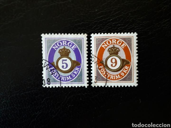 NORUEGA. YVERT 1362/3 SERIE COMPLETA USADA. CUERNO POSTAL. (Sellos - Extranjero - Europa - Noruega)
